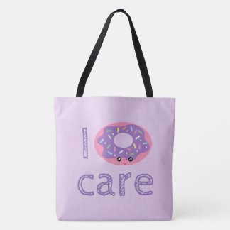 I donut care cute kawaii doughnut pun humor emoji tote bag