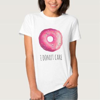 I Donut Care Funny Pun Pink Donut Tee Shirt