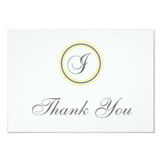 I Dot Circle Monogam Thank You Cards (Yellow/Gray) 9 Cm X 13 Cm Invitation Card