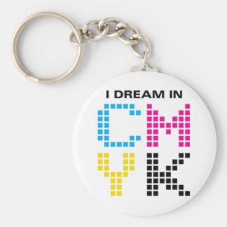 I Dream In CMYK Basic Round Button Key Ring