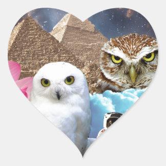 I dream of space owls heart sticker