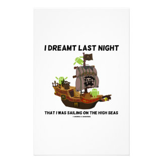 I Dreamt Last Night Sailing High Seas Bug Droid Personalized Stationery