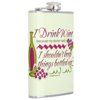 I Drink Wine Funny Quote Hip Flask