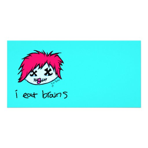 """i eat brains"" Trendy Zombie Photo Card"