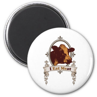 I Eat Meat Cow 6 Cm Round Magnet