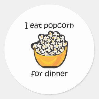 I Eat Popcorn For Dinner Funny Design Classic Round Sticker