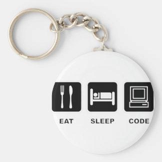 I eat, sleep and code keychains