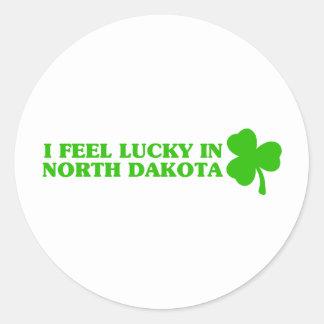 I feel lucky in North Dakota Round Stickers
