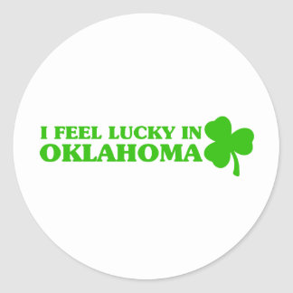 I feel lucky in Oklahoma Round Stickers