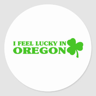 I feel lucky in Oregon Round Sticker