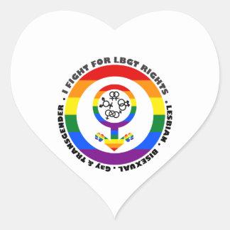 I Fight For LBGT Rights Man Heart Sticker