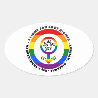 I Fight For LBGT Rights Man Oval Sticker