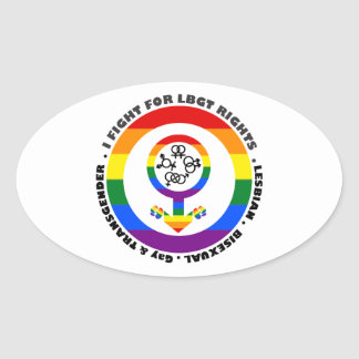 I Fight For LBGT Rights Man Oval Stickers