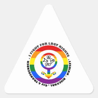 I Fight For LBGT Rights Man Triangle Sticker
