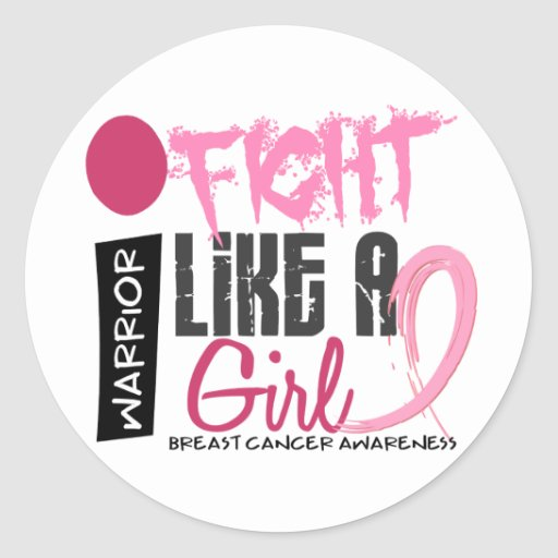 I Fight Like A Girl 4.1 Breast Cancer Round Stickers