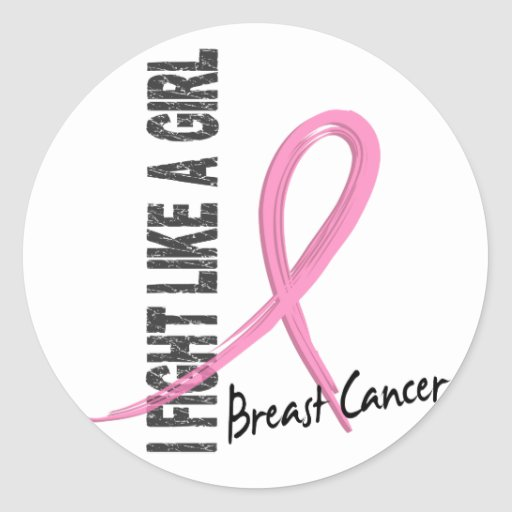 I Fight Like A Girl 7.1 Breast Cancer Round Stickers