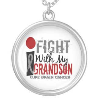 I Fight With My Grandson Brain Cancer Silver Plated Necklace