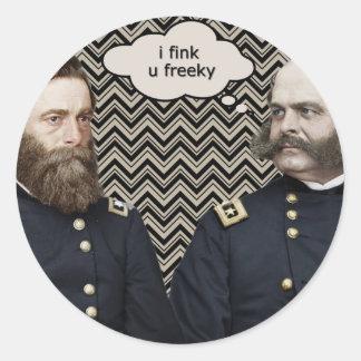 """""""i fink u freeky"""" round sticker"""