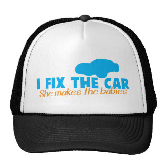 I fix the car- She makes the Cap
