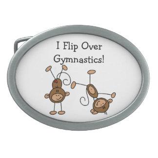 I Flip Over Gymnastics Oval Belt Buckles