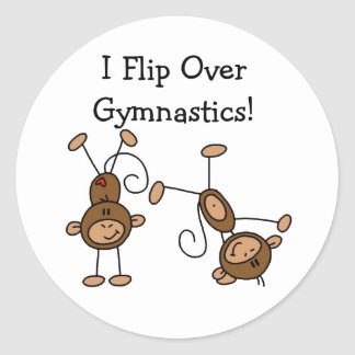 I Flip Over Gymnastics Round Sticker