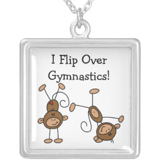 I Flip Over Gymnastics Silver Plated Necklace