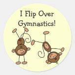 I Flip Over Gymnastics Tshirts and Gifts Round Sticker