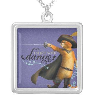 I Flirt With Danger (color) Square Pendant Necklace