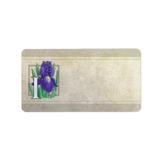 I for Iris Flower Monogram Label