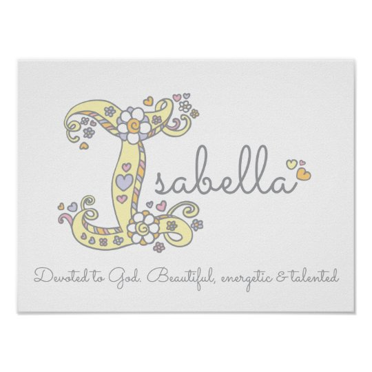 I for Isabella initial doodle art name meaning