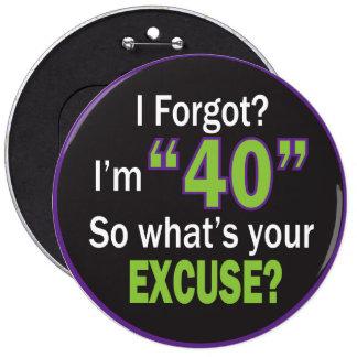 I Forgot?  I'm Forty Birthday 6 Cm Round Badge