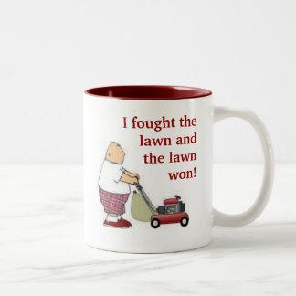 I fought the lawn... Two-Tone mug