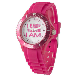 I Game Therefore I AM Gamer Girl Wristwatches