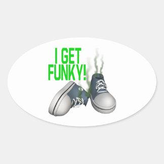 I Get Funky Oval Sticker