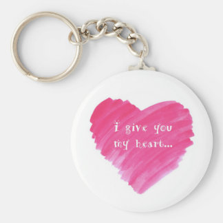 I Give You my Heart Watercolor Heart Basic Round Button Key Ring