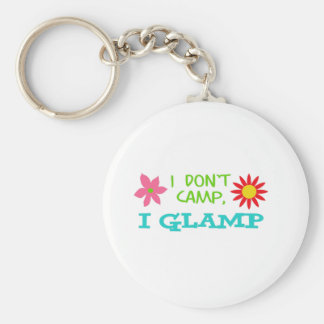 I GLAMP NOT CAMP BASIC ROUND BUTTON KEY RING