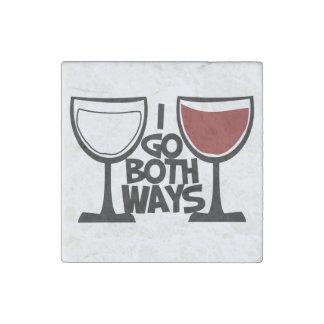 I go both ways wine drinker humor stone magnet