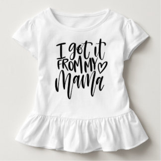 """I got it from my mama"" white ruffle Tshirt"