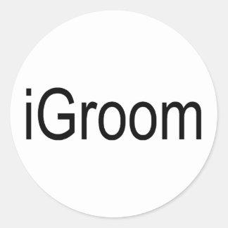 i Groom Round Stickers