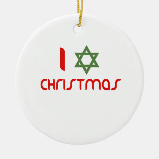 I Hanukkah Christmas green Round Ceramic Decoration