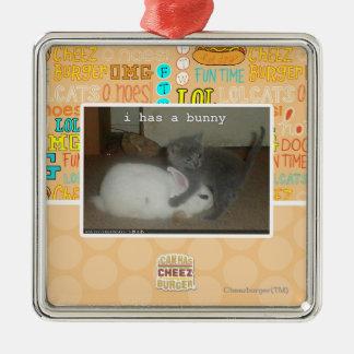 I has a bunny Silver-Colored square decoration