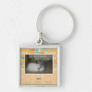 I has a bunny Silver-Colored square key ring