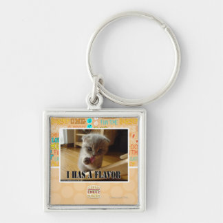 I has a flavor Silver-Colored square key ring