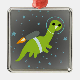 """""""I Has Jetpack!"""" Flying Brontosaurus with Jetpack Christmas Ornament"""