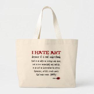 I hate art because it is misunderstood canvas bag