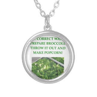 i hate broccoli round pendant necklace