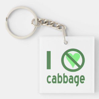I Hate Cabbage Double-Sided Square Acrylic Key Ring