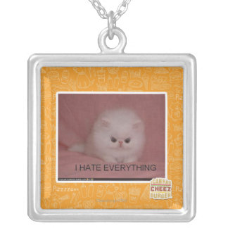 I hate everything silver plated necklace