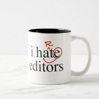 i hate/heart editors Two-Tone mug