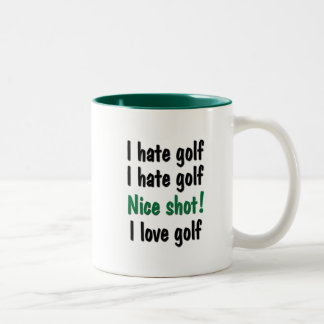 I Hate - Love Golf Two-Tone Coffee Mug